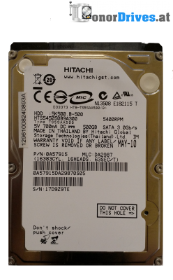 Hitachi HTS545050A7E362- Z5K500-500 - SATA - 500 GB - 220 0A90350 01 Rev.